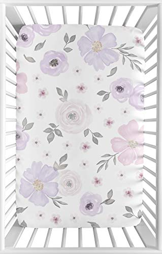 (Sweet Jojo Designs Lavender Purple, Pink, Grey and White Baby Girl Fitted Mini Portable Crib Sheet for Watercolor Floral Collection - Rose Flower - For Mini Crib or Pack and Play ONLY)