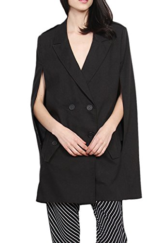 TheMogan Women's Double Breasted Boyfriend Cape Blazer Black S