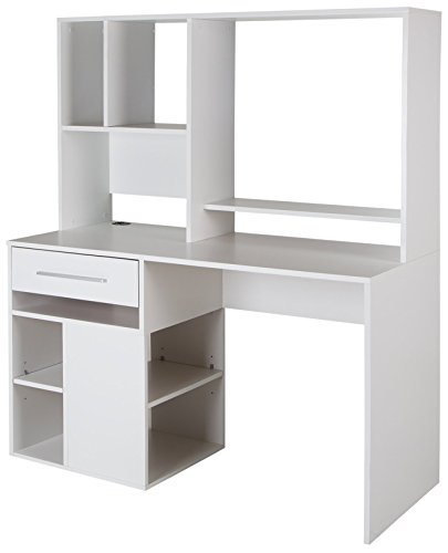 (South Shore 9053070 Narrow Home Office Computer Desk with Hutch, Pure White)