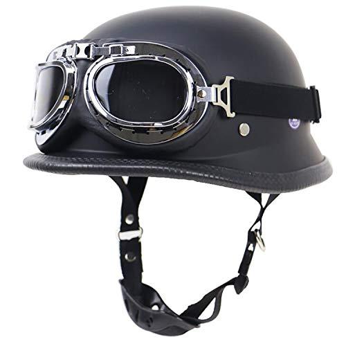 Yedina Retro Motorcycle Half Helmet - Dumb Black Defense Army Steel Half Shell Motorcycle Helmet Hornet Scooter Jet Buoy Helmet Pilot Cruiser Moped Chopper Half Helmet Knight/Including Goggles,XL