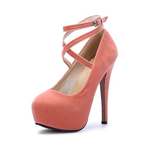 Epais Club Soiree Chaussures Aiguille Cheville Sexy Escarpins Lacets Fermeture Talon Femme OCHENTA Bride Pêche Plateforme Oq8TTg