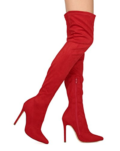 Liliana DB54 Damen Wildleder Spitze Zehenhoch Single Stiletto Stiefel Red Faux Wildleder