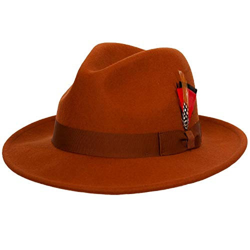 9th Street Reverb Classic Felt Fedora 100% Wool (XLarge (fits 7 1/2 to 7 5/8), Cognac)