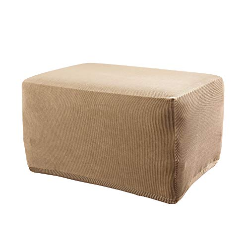 SureFit Stretch Stripe - Ottoman Slipcover - Brown