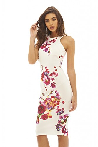 AX Paris Women's Floral Printed Bodycon Cream Dress(Bold Floral Cream, Size:10) (Cream Floral Pink)