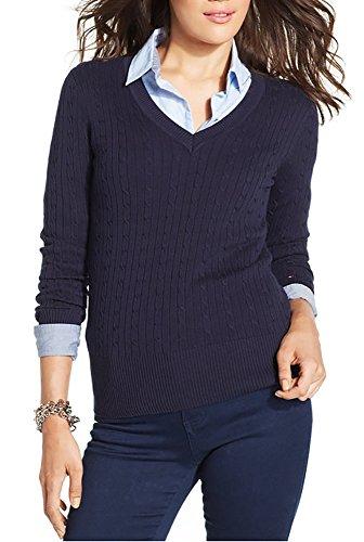 Tommy Hilfiger Women's V-Neck Knit Sweater (Navy, - Women Hilfiger Tommy