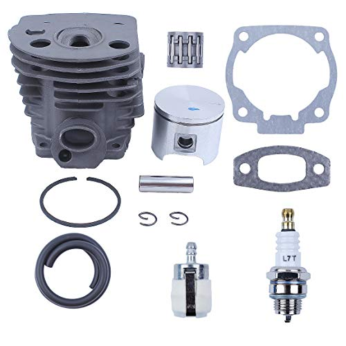 Haishine Nikasil Plated Cylinder Piston Bearing Kit for Husqvarna 51 55 Rancher (46mm) Chainsaw Fuel Filter Line Gasket 503 16 91-71