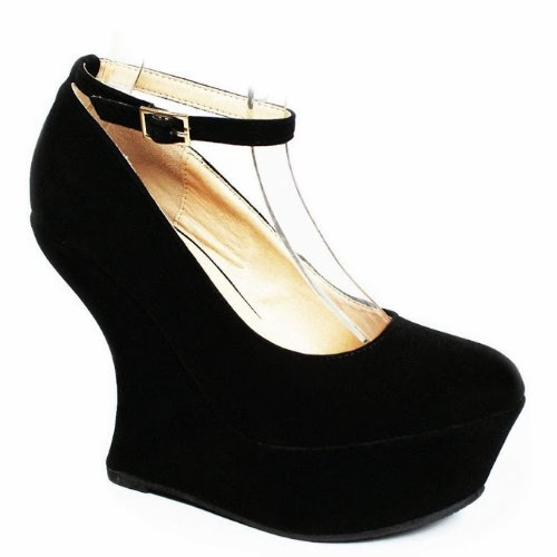 Jjf Shoes Rs Negro Faux Suede Tobillera Strap Special Gaga Curve High Heel Platform Cuña Pump-7.5
