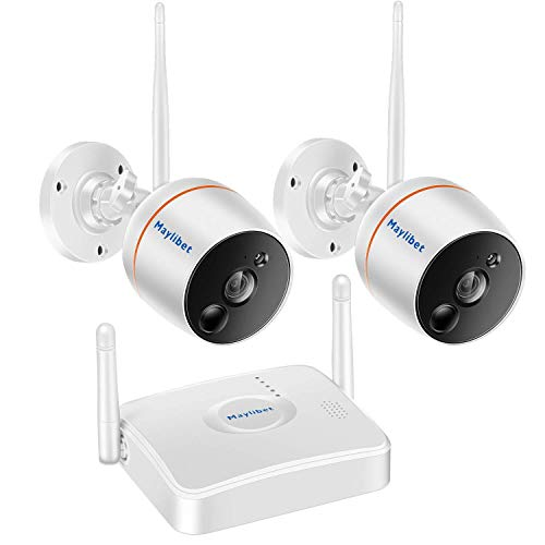 Security Wireless Camera System Indoor/Outdoor Night Vision – 2pcs Smart 1080P WiFi IP Camera and 1 NVR – Expandable to 3 or 4 Cameras for Home Video Surveillance Kit – with Audio and SD Card Storage