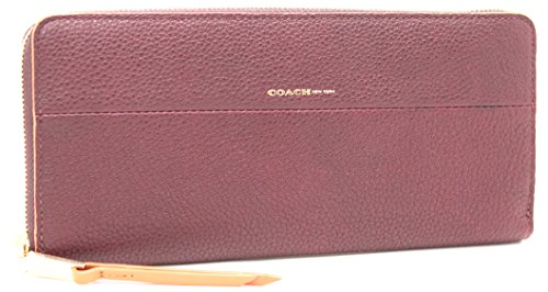 Coach Accordian Zip Edgepoint Pebbled Leather Wallet (GD/Oxblood/Tan)