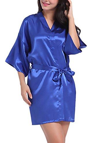Camicia V Saoye Accappatoio Pigiama Unita Donna Tinta Notte Corto Elegante Blu Estivo Fashion Scollo Cintura Con Sposa Da Vestaglia Kimono 6wCxS6q4