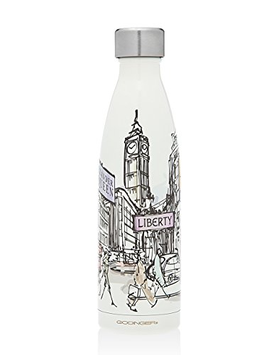 Godinger Liberty Of London Vacuum Insulated Travel Water Bottle | Leak-proof Double Walled Stainless Steel Portable Water Bottle No Sweating, Keeps Your Drink Hot & Cold | 17 Oz (500 ml)