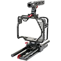 CAMTREE Hunt DSLR Camera Cage, 15mm Rod Support for Canon 5D MARK II, III & IV MK2 MK3 MK4 | CNC Aluminum Lightweight Cage| NATO Top Handle with ARRI 2 Pin Mounts | Dovetail Tripod Plate (CH-5234-RS)