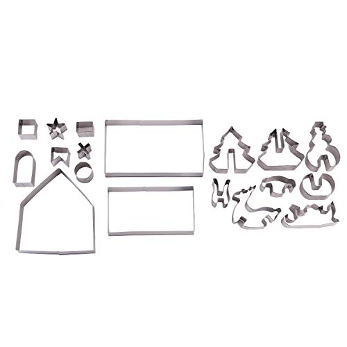 18 Piece 3D Christmas Scene Stainless Steel Cookie Cutters Gingerbread House Reindeer Snowman Sleigh Tree Baking Holiday DIY Decorating Parties Party Supplies Cookies Kitchen Utensils Accessories -