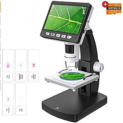 ROTEK Fotocamera Digitale Microscopi Microscopio Dello Schermo di HD LCD HDMI da 4,3 Pollici Microscopio Portatile 1000X con Lente di Ingrandimento 1080P per Bambini Studenti Adulti Laboratorio