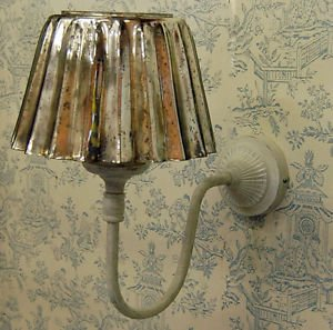 French shabby chic cream metal wall light with vinatage style glass french shabby chic cream metal wall light with vinatage style glass lampshade aloadofball Choice Image