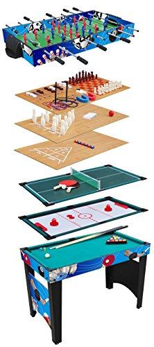 Fussball-Kickertisch (Multifunktionstisch 12 in 1 u.a. Billard, Tischtennis, Gleit-Hockey etc.)