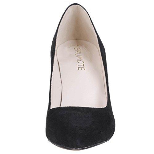 MERUMOTE - Zapatos de tacón fino Mujer Black-Suede