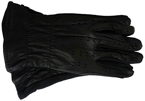 Perri's Leather Childs Black Leather Glove with Lycra, (Kids Leather Gloves)