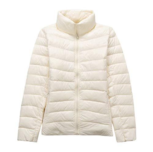 Size Down Ultra Lightweight Coat White MogogoWomen Plus Stand Collar Packable 0ptU0BAwq