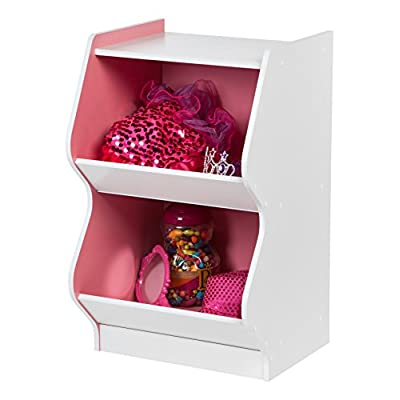 IRIS 2 Tier Curved Edge Storage Shelf, White and Pink: Kitchen & Dining