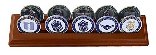 DECOMIL- 2 Rows Medium Poker Chips&Military Challenge Coins Display Holder USED- Very Good