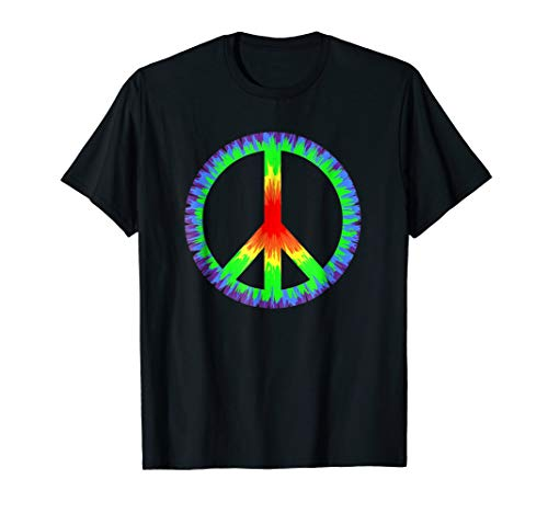 Tie Dye Color Peace Sign Tshirt - 60s 70s Retro T-Shirt
