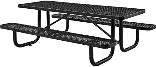 8 Rectangular Picnic Table, Surface Mount, Black 96 Long