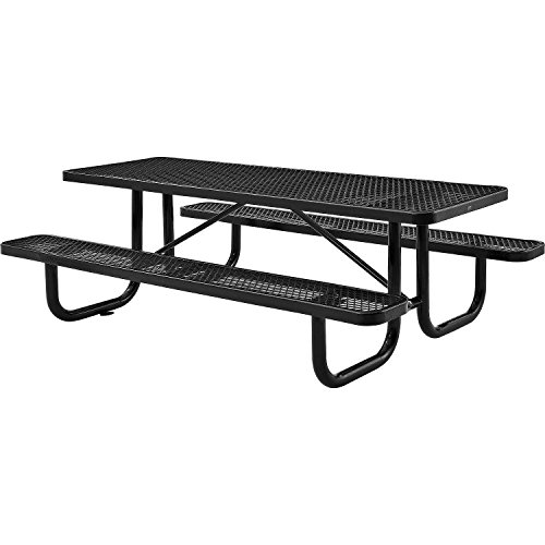 8′ Rectangular Picnic Table, Surface Mount, Black (96″ Long)