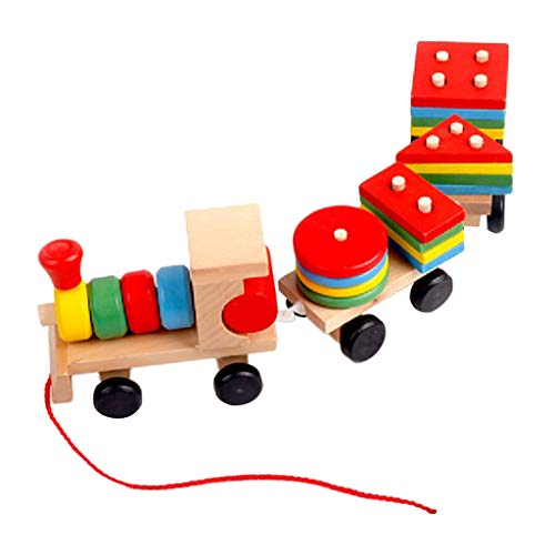 PSFS Three-Section Hauling Small Wooden Train,Educational Toys for
