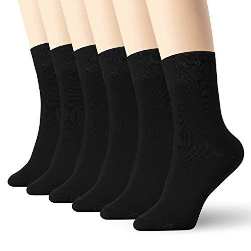 6 Pack Thin High Ankle Cotton Socks Women Men LightWeight Crew (Black) ()