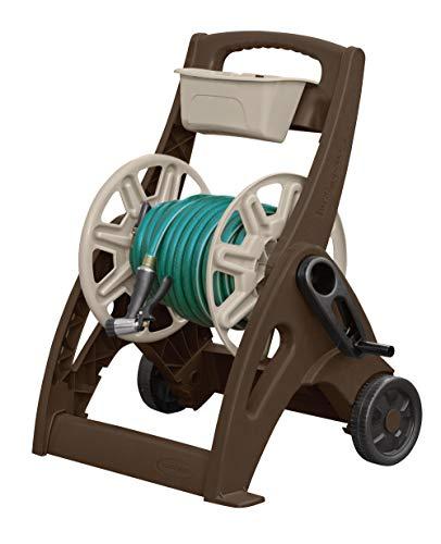 Suncast Hosemobile Garden Hose Reel Cart - Lightweight Portable Garden Cart with EasyLink, Crank Handle, and Storage Tray for Gardening Accessories - 225' Hose Capacity - Bronze and ()
