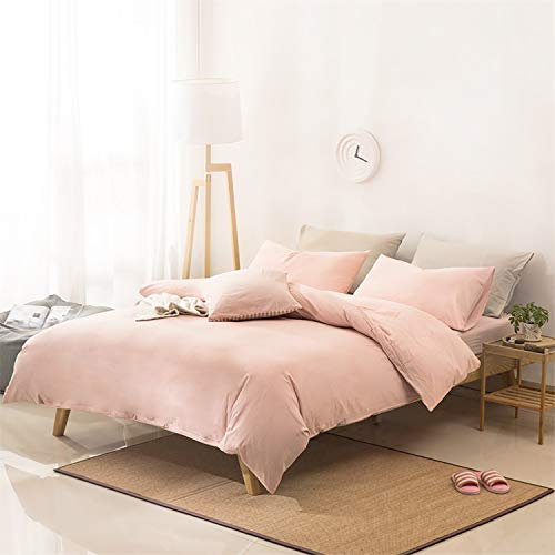 - Utridevn 3 Pieces Washed Cotton Duvet Cover Set,100% Organic Natural Cotton Bedding,Vintage Ruffled with Zipper Design,Soft&Comfy(King,Pink)