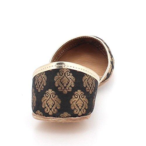 Glisser Jutti Khussa Les Indien Taille Mariée Femmes Mojari Main Ethniques Dames Londres Traditionnel Cuir Pompes Chaussures Plat Noir Sur Pour Aarz qOZTvFv