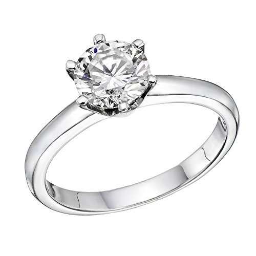NDSTORE 14K White-Gold Round-Brilliant-Cut Diamond Engagement Ring (1/2 cttw, L-M Color, I1-I2 Clarity) - Size 5
