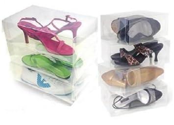 12 paquete de plástico transparente de almacenamiento de calzado Cajas Transparentes de contenedores para los zapatos