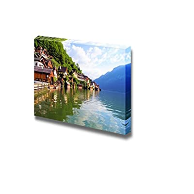 Beautiful Scenery Landscape Wooden Houses of Hallstatt Austria with Reflections in Lake Wood Framed Wall Decor