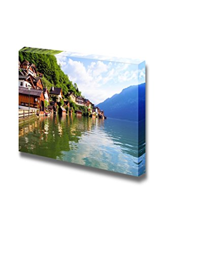 Beautiful Scenery Landscape Wooden Houses of Hallstatt Austria with Reflections in Lake Wall Decor Wood Framed