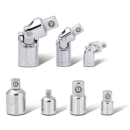 HORUSDY 7-Piece Universal Joint Set, Socket Drive Adapter and Reducer Set, 1/4