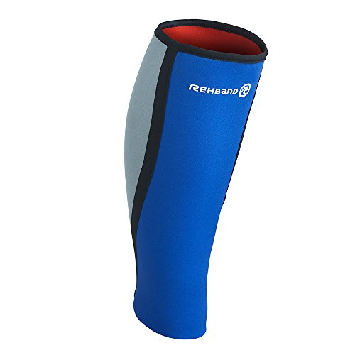 Rehband Basic Calf Support - Small - Blue - Workout Gear for Men and Women - Calf Sleeve - Improve Circulation - Relieve Pain - Protect Against Inflammation + Muscle Tears - 1 Sleeve
