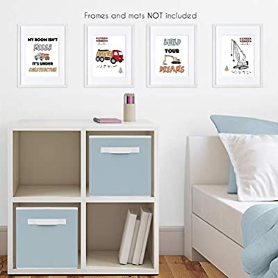 Sweet Jojo Designs Construction Truck Wall Art Prints Room Decor for Baby, Nursery, and Kids - Set of 4 - Grey Yellow Orange Red and Blue Transportation: Baby