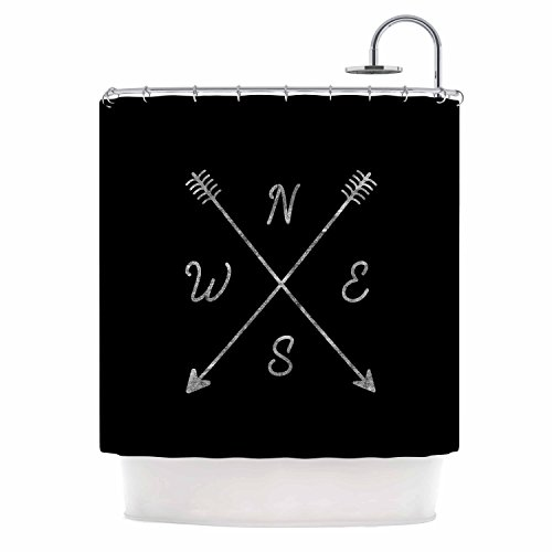KESS InHouse Draper Cardinal Direction B Black Vintage Shower Curtain, 69
