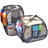 Pro-Mart DAZZ Deluxe Pop-Up Hamper, Pyramid and Rectangle, Set of 2, Gray