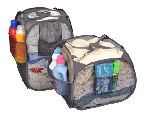 Pro-Mart DAZZ Deluxe Pop-Up Hamper, Pyramid and Rectangle, Set of 2, Gray (Hamper Portable compare prices)