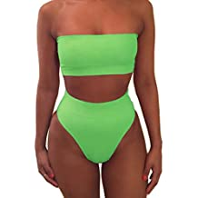 Pink Queen Women's Removable Strap Wrap Pad High Waisted Bikini Set Swimsuit