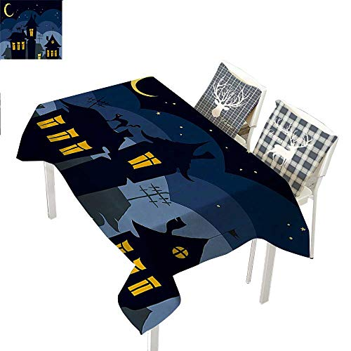 WilliamsDecor Halloween Party Supplies Tablecloth Old Town with Cat on The Roof Night Sky Moon and Stars Houses Cartoon ArtBlack Yellow Blue Rectangular Tablecloth W52 xL70 inch -