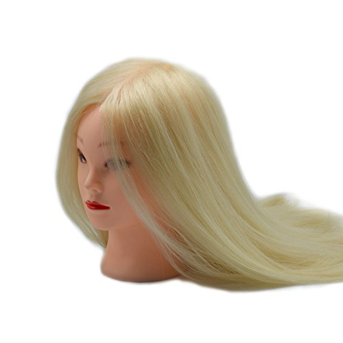 EMEDA 22'' Fashion Blonde Cosmetology Womens Mannequin Head Set Long Hair Mannequin Head with Hair Sewing Mannequin Head for Makeup (Blonde)
