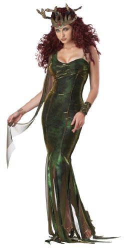 Snake Goddess Costume (California Costumes Serpentine Goddess Set, Green/Gold, Small)