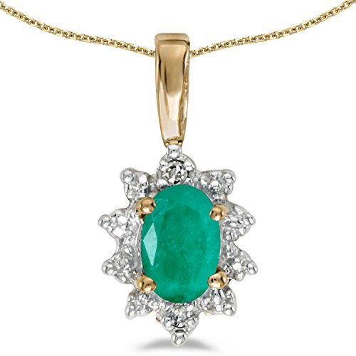 0.31 Carat (ctw) 10k Yellow Gold Oval Green Emerald and Diamond Women's Solitaire with Halo Pendant with 18