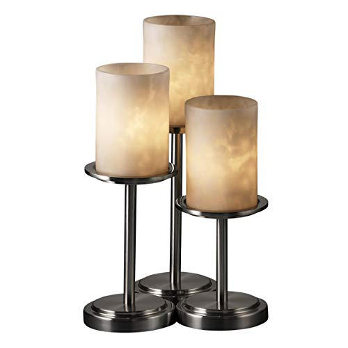 Justice Design Group CLD-8797 Dakota 3 Light Table Lamp with Resin Shades from t, Brushed -